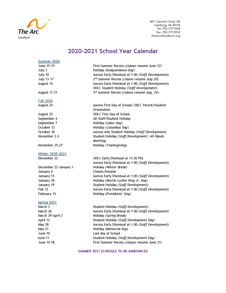 2020 - 2021 School Year Calendar
