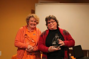 2015 – Beth Mills (left) and Diane Culp (right) being honored for choosing to walk this path in tireless service to help better the lives of people with disabilities.