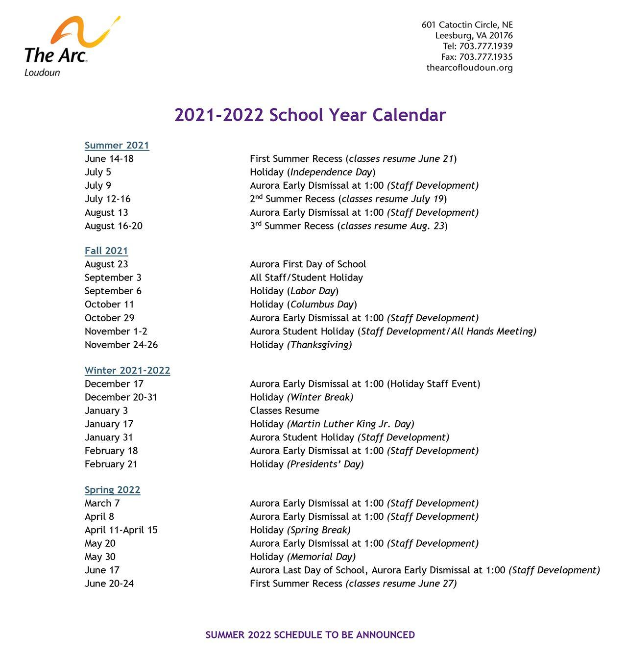 2021-2022 Aurora School Year Calendar
